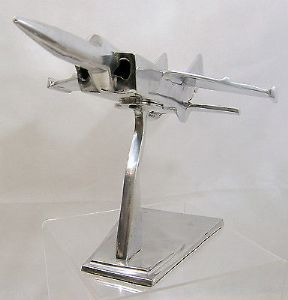 Very Large Engineer's ChromeDemonstration Model 1980s Jet Fighter/Bomber